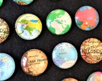 20 MAP Travel 25mm Glass Domes Cabochons Jewelry Magnet Making Round  Digital Images Print Printed