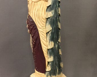 HAND CARVED original large Santa with tree on snowy base from 100 year old Cottonwood Bark.