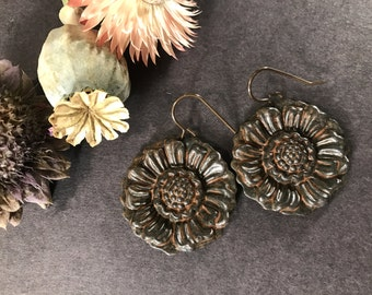 Sunflower Earrings Botanical Earrings Bold Noir Flowers Floral Drop Bohemian Earrings Boho Jewelry Nature Inspired Large Lightweight
