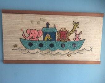 Vintage 60s gravel art Noah's Ark as is