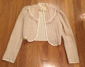 Vintage 70s 80s Gunne Sax quilted rose bud cream Prairie blazer jacket