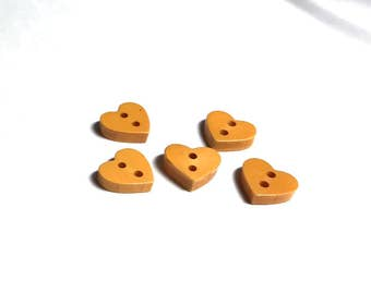 Group Of Five Little Bakelite Realistic Hearts - Yellow