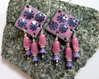 Pink Purple Diamonds Earrings, Handmade Enamels, Czech glass, Sterling Silver Earwires,