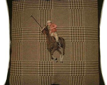 Polo Player Red Horse Riding Cushion Cover Sham