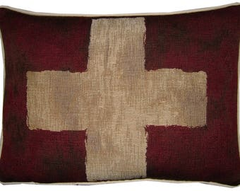 Vintage Swiss Switzerland Flag Tapestry Cushion Pillow Cover