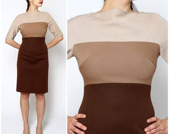 Vintage 1960's Short Sleeved Tan And Brown Color-Blocked Fitted Wiggle Dress by Weber and Frank   Medium