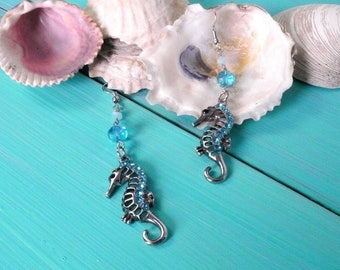 seahorse earrings - mermaid earrings, blue bead earrings, mermaid accessory, beach wedding