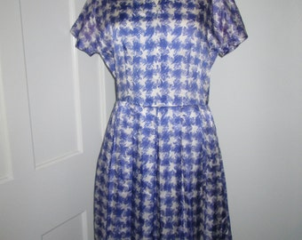 Vintage blue and white houndstooth dress - medium/large