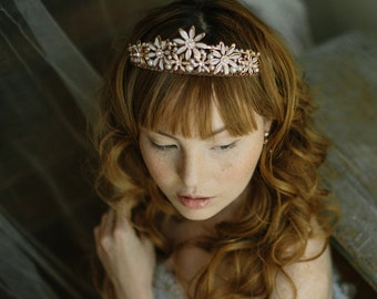 Wedding tiara, bridal crown, rose gold crown - Bitterroot no. 2183