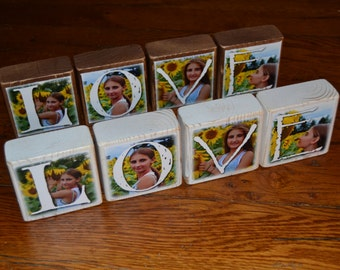 LOVE Photo Blocks- Personalized Photo Blocks instead of a card- set of 4 Letter Blocks- custom made with Love
