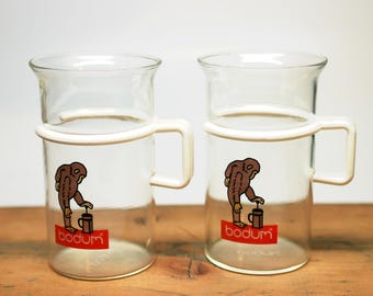 "2 Vintage Bodum ""So Simple a Monkey Can Do It"" Glass Coffee Tea Mugs Cups Large Size"