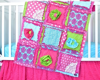 Nursery Bedding Set - Hot Pink / Turquoise/ Green Floral Crib Bedding Set Girls Bedroom- Girl Crib Bedding- Rag Quilt/ Bumpers/ Sheet/ Skirt