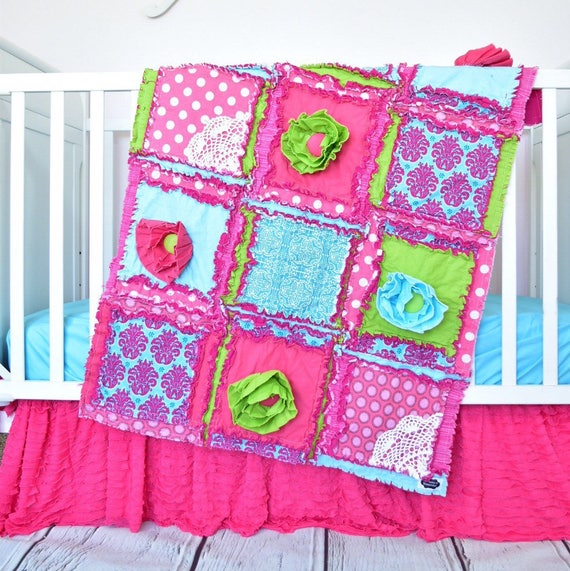 Lime Green And Pink Bedding: Nursery Bedding Set Hot Pink / Turquoise/ Green Floral Crib