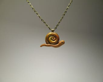 Snail Necklace - Polymer Clay Jewelry - Artisan Crafts