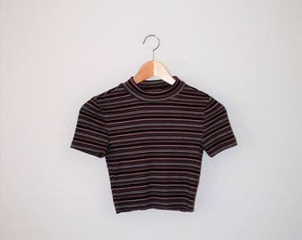 ribbed striped crop top 90s vintage mock neck turtle neck cropped tee xs