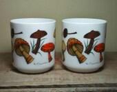 Vintage Milk Glass Mugs French Woodland Mushrooms Set/2