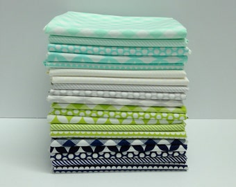 Bonnie and Camille  Basics FQ Bundle - Navy, Gray, White, Green and Aqua (20 Pieces)