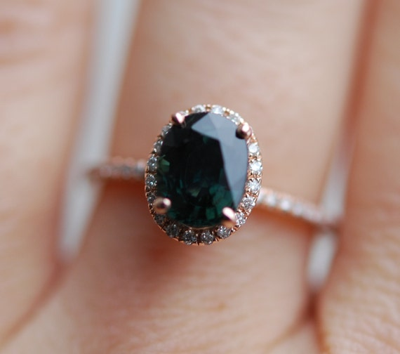 green sapphire engagement ring peacock green by eidelprecious