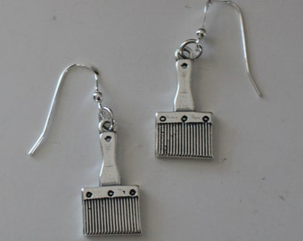 Sterling Silver 3d PAINT BRUSH Earrings - Painter, Artist, Crafts