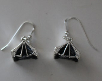 Sterling Silver 3d TENT Earrings - Camping, Camper, Scouts