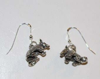 Sterling Silver ARMADILLO Earrings - French Earwires - 3D -Wildlife