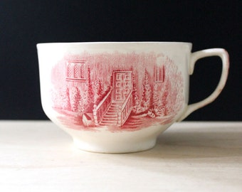 The Search. Vintage English red transferware cup.