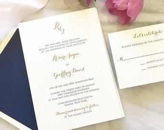 Gold and Navy Wedding Invitation - Initials Wedding Invitation - Thermography - Sample