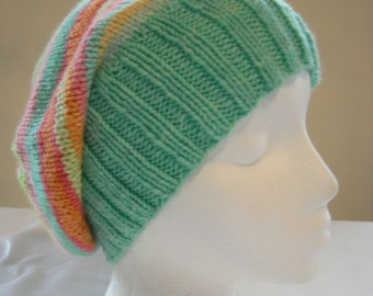 Cashmere Soft Slouch beanie stripes hand knit hand dyed luxury yarn winter hat slouch hat slouchy beanie colorful