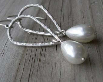South Sea Pearl Hammered Sterling Silver Teardrop Dangle Earrings