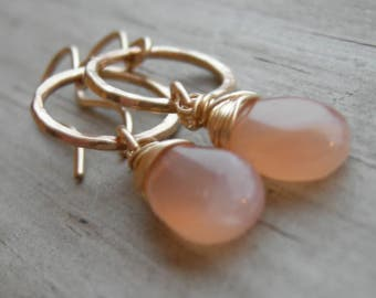 Peach Moonstone Wire Wrapped Yellow Gold Circle Earrings June Birthstone