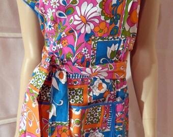 1960's Aprons Flower Power NWOT Cotton Patchwork Floral Design Beat Generation Adjustable M-XL