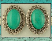 2 Hole Beads Faux Turquoise Oval Cabochons ~ Sun Swirl Pattern Metal Frame ~ Sliders QTY 2     (SKU 513171368)