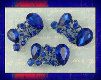 2 Hole Beads Blue Glass Facet Teardrops with Sapphire Swarovski Crystal Elements ~ Sliders Qty 3     (SKU 481128432)