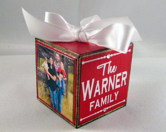 Personalized Family Photo Block Ornament in red, Custom Family Ornament, Christmas Ornament