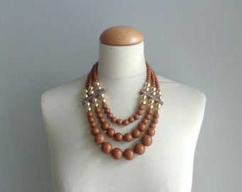 Brown gold chunky necklace modern multistrand statement necklace