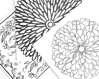 At the Flower Shop Coloring Cards (set of 12)