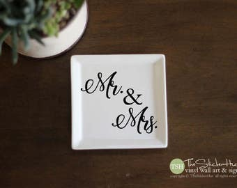 Mr & Mrs Vinyl Decal - Ring Dish - Vinyl Lettering - Removeable - Wedding Gift Ideas - Wall Art Words Text Door Sticker Decal 1980