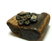 Drilled Stone Bead LICORICE DOTS Beach Stones Center Drilled Jewelry Pebbles Beads Black Cairn Donuts diy Spacers Rocks