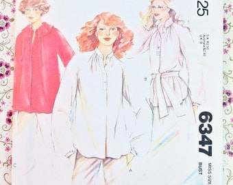 Vintage 1970s Womens Loose-Fitting Blouse Pattern - McCalls 6347