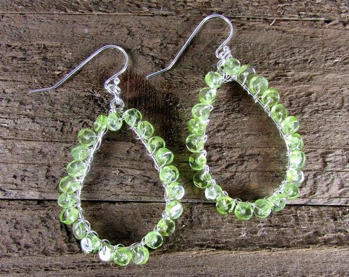 Peridot Earrings, August Birthstone Earrings, Peridot & Sterling Silver Earrings