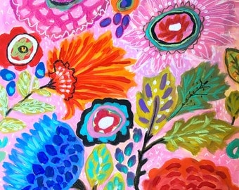 Bohemian Abstract Landscape Flowers Mixed Media Painting on Paper 18 x 24 by Karen Fields