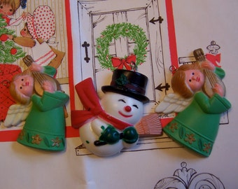 tiny trio of plastic ornaments