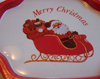 santa in his sleigh tip tray