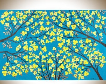"""Christmas gift Turquoise Blue yellow copper art copper home decor large wall art canvas art wall decor """"The Blooming Season"""" by qiqigallery"""