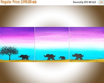 "Animal art elephant painting blue purple Oil painting wall decor wall art home decorative art wall hangings ""Going Home II"" by QIQIGALLERY"