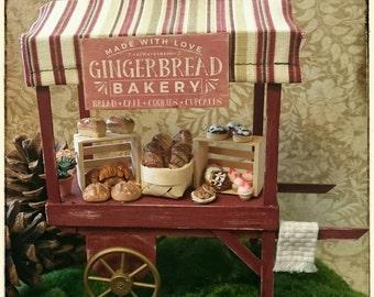 Miniature dollhouse scale farmers market bakery cart