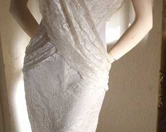 Vintage White Lace Bohemian Romantic WEDDING Evening Dress M