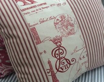 SHaBBy CHiC/French CoTTaGe Pillow Cover/Red RoSeS/Cranberry ToiLe/TicKiNG/Lumbar/Loft/Urban/Bedroom PiLLoW/
