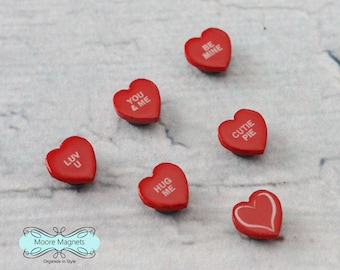 Valentine Magnets in Magnetic Tin - conversation hearts Be Mine Red Heart Magnets