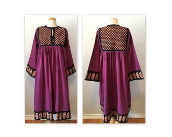 Vintge 70s Cotton Hippie Dress S M Quilted Yoke NOS Pearly Purple
